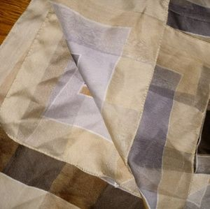 EUC shades of brown & gray square scarf